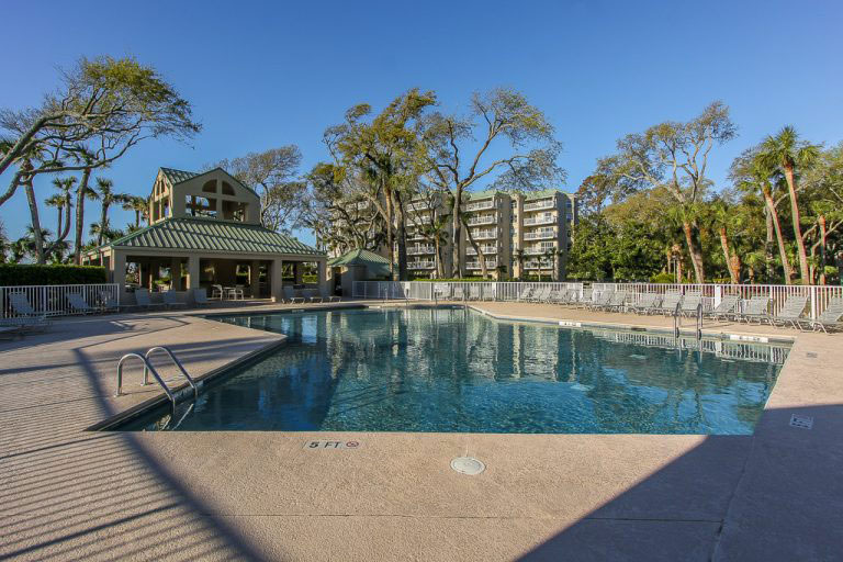 Exterior pool view of 112 Barrington Court | Palmetto Dunes | Hilton Head Island, SC | Vacation Rental